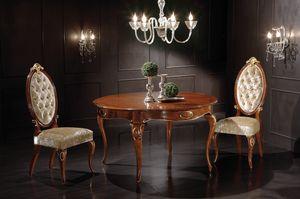 Princes tavolo tondo allungabile, Mesa de comedor en madera, con tapa extensible