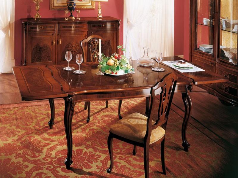 ROYAL NOCE / Extensible table, Mesa clásica cuadrada con extensión para comedores