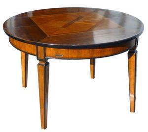 Seggiano ME.0945, Mesa redonda en madera de nogal, extensible y las piernas afiladas