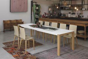 SOLE 140 WOOD TA180, Mesa con patas de madera maciza, con la parte superior extensible, para funrishing casa