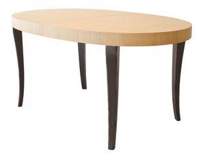 TA16, Extensible mesa ovalada de dos colores, patas de haya y roble superior