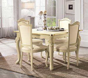 Viola mesa cuadrada, Mesa neocl�sica, con patas talladas