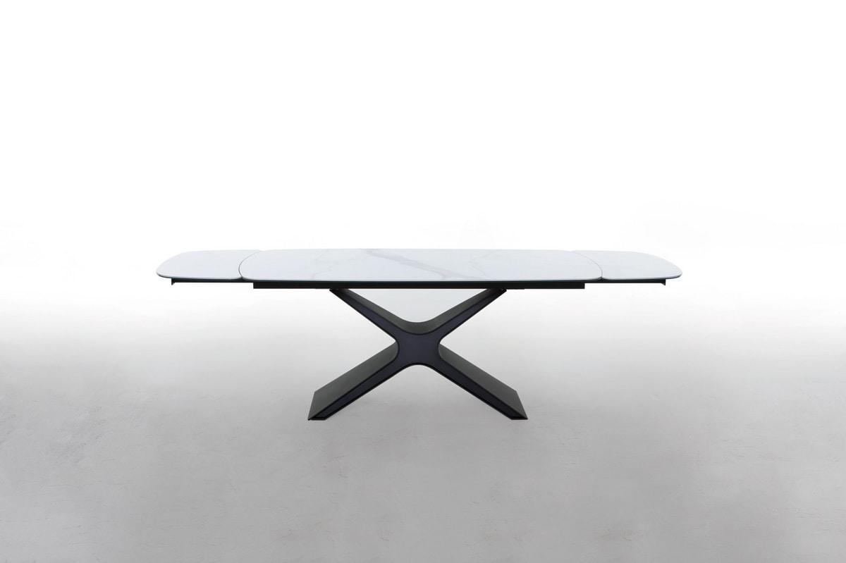 CALLIOPE, Mesa extensible o fija con tapa de cristal o cerámica.