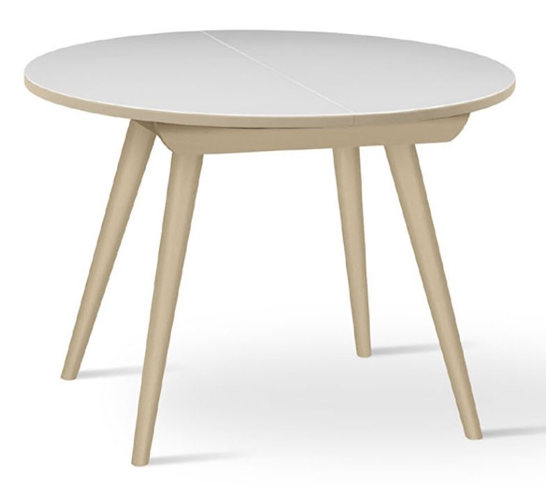 Mesa redonda en madera de haya s lida extensible para la for Mesa circular extensible
