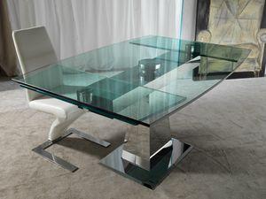 Art. 658 Enterprise, Mesa en acero y vidrio, con extensiones sincronizadas