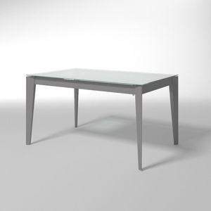 Astro, Mesa extensible de acero y cristal, para cocinas modernas