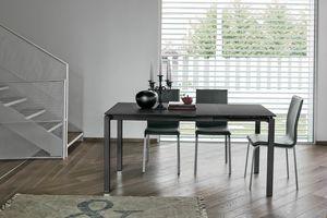 AURIGA 110 TA115, Mesa de metal con tapa de cristal adecuado para la cocina moderna