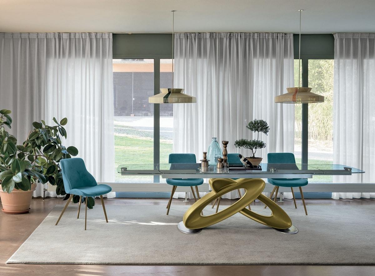 Mesa extensible con tapa de cristal para los comedores modernos ...