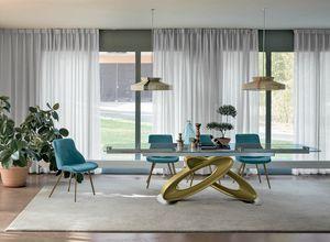 ECLIPSE TA400, Mesa extensible con tapa de cristal para los comedores modernos