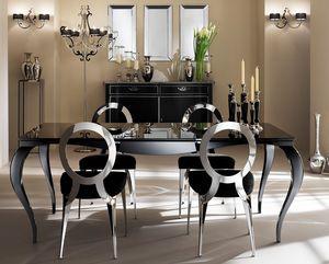 Raffaello mesa, Mesa con patas de aluminio, tapa serigrafiada