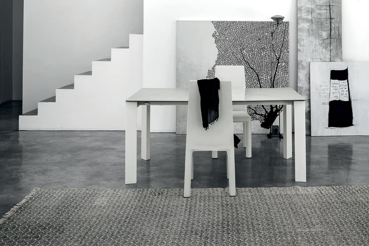 SATURNO 160 TA192, Mesa con estructura de aluminio, tapa de cristal templado, estilo moderno