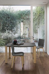 SOLE 110 WOOD TA181, Aluminio mesa extensible con patas en madera maciza, tablero de cristal templado