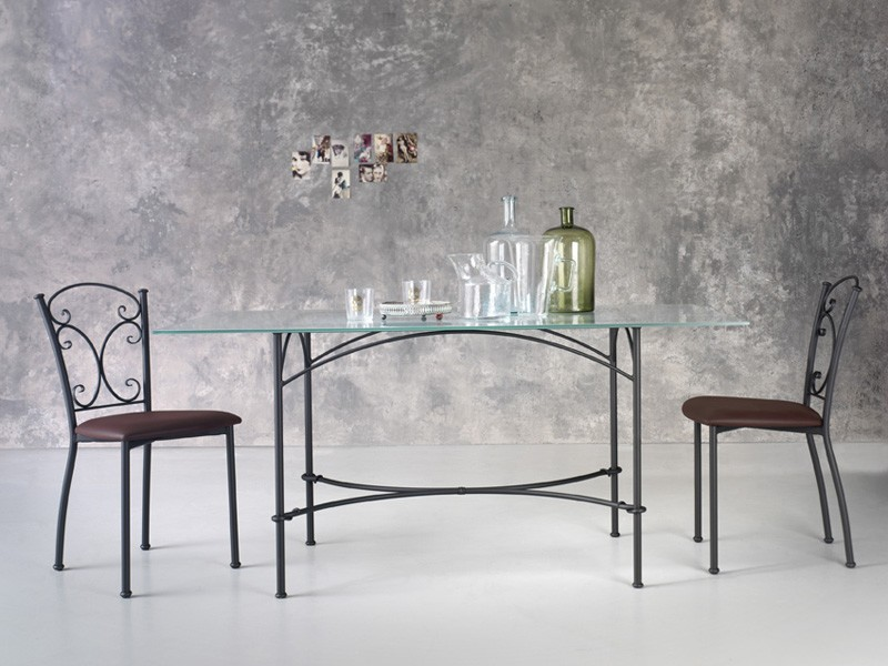 Corallo, Mesa de metal rectangular, tapa de cristal