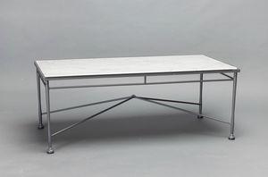 INTRECCIO GF4004TAB, Mesa rectangular con tapa de mármol de Carrara