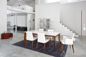 ART. 259/F OLIMPO, Mesa de comedor contemporáneo, base de madera
