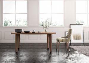 Cortina, Lineal mesa de comedor, cocina equipada, sala de estar clásica