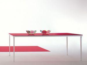 Arge, Mesa de metal rectangular con vidrio