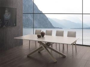 Art. 657 Infinity, Mesa extensible con tapa de cristal, base de acero