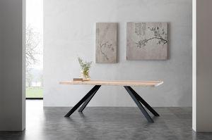 Art. 704ME Bio-Metal, Mesa con tapa de madera maciza de fresno