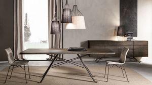 Artù mesa, Mesa con tapa de madera maciza de roble, base de hierro