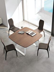 BRENTA, Mesa extensible de metal con tapa de madera para la sala de estar