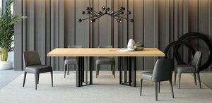 Ironwood mesa Júpiter roble, Mesa de comedor en hierro y madera de roble