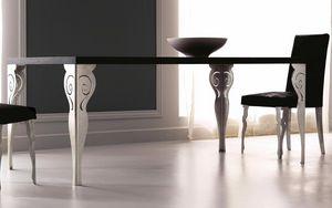 Kaleido Art. 208-RR, Mesa de comedor con patas de hierro cortadas con láser, pulida y decorada a mano