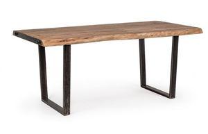 Mesa Elmer180X90, Mesa con sobre de madera trabajada a mano