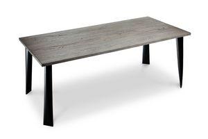 Milos Table, Mesa de hierro rectangular con madera de nogal ahumado superior