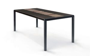 OLIMPO 1.8 BC–WENGE', Mesa rectangular, tapa wengé, estructura de acero negro