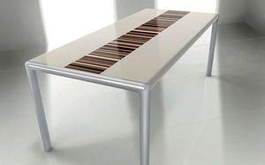OLIMPO 2.0 BC- LA CREAM, Mesa rectangular, estructura de metal, ideal para comedor moderno