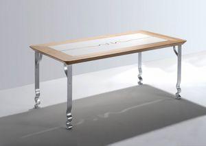 Pashmina, Mesa rectangular con tapa de madera y patas de hierro