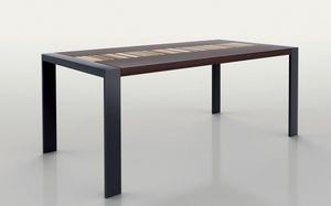 PEGASO 1.8 BC WENGE', Mesa rectangular, marco metálico, tapa de madera