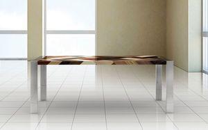 PEGASO 2.0 PW45, Mesa rectangular, marco de acero pulido, tapa de madera