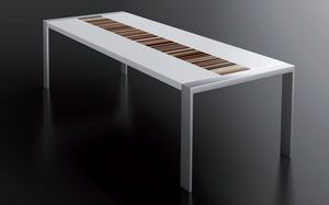 PEGASO 2.5 LA-WHITE, Mesa blanca lacada, estructura de acero cepillado, tablero rectangular