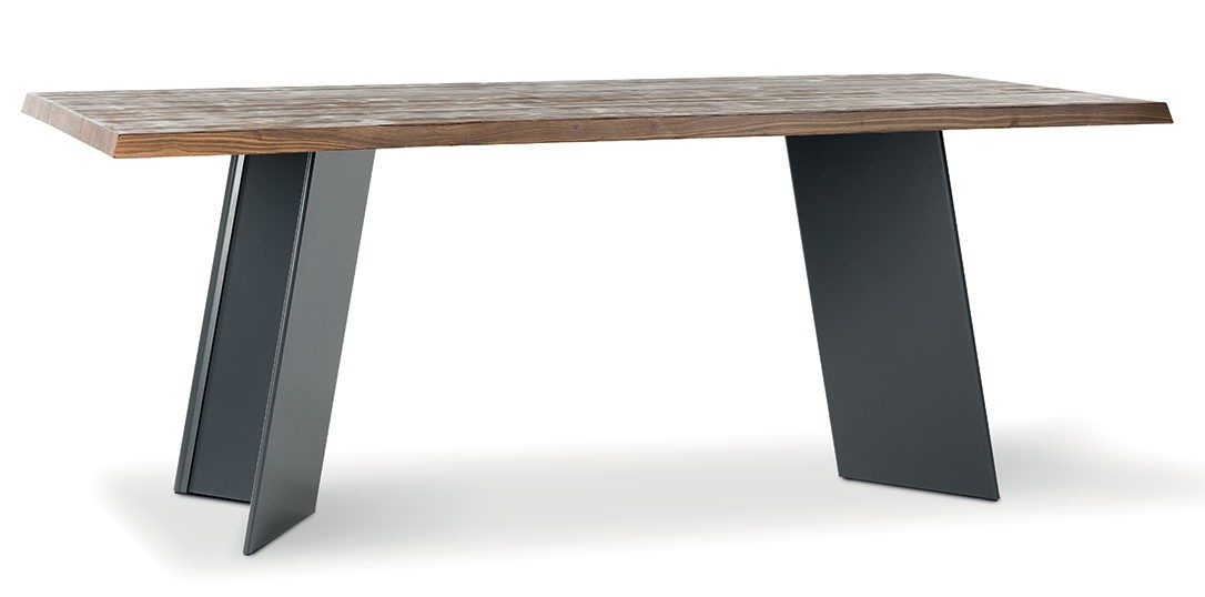 R stica mesa de madera maciza con base met lica idfdesign - Mesa madera maciza rustica ...