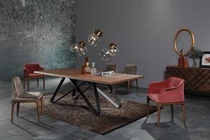 STATUS, Elegante mesa de comedor con diseño geométrico