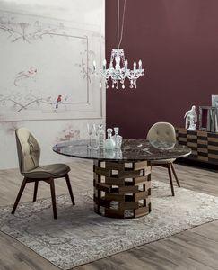 COLOSSEO, Mesa fija o extensible con base en madera maciza redonda o elíptica