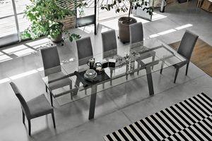 GIOVE 180 TA193, Mesa extensible, superior y extensiones en vidrio, para el comedor