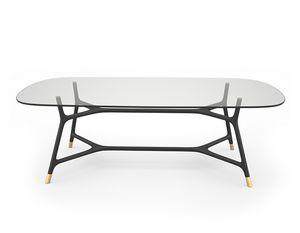 Joyce 5701/F, Mesa elegante con sobre de cristal