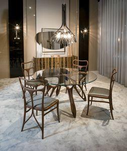 PROMETEO mesa GEA Collection, Mesa de comedor contemporánea, con tapa de cristal