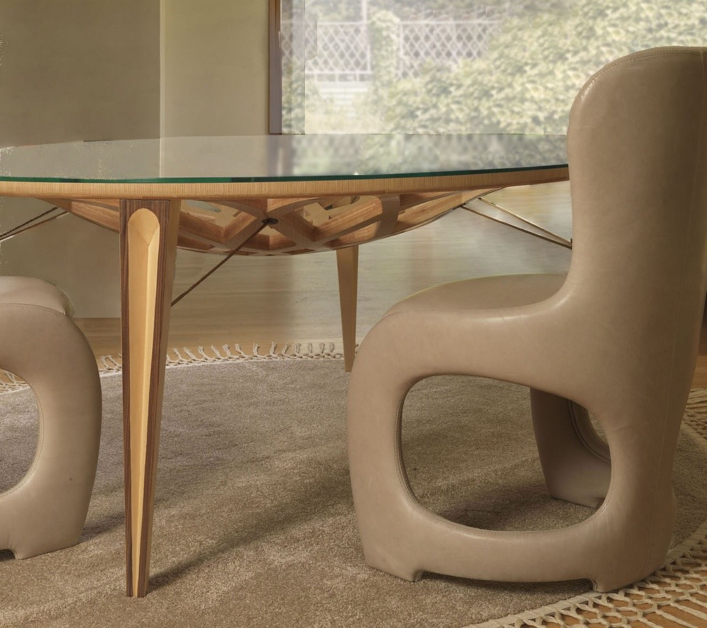 Mesa redonda en madera y vidrio, para salones modernos ...