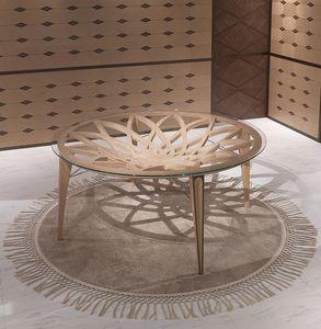 TA63 Galileo mesa, Mesa redonda en madera y vidrio, para salones modernos