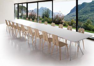Pegaso solid, Largo de mesa en aluminio pulido y la parte superior de resina