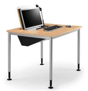 SYSTEM 789, Mesa con pies de almacenamiento de PC ajustable, retráctil