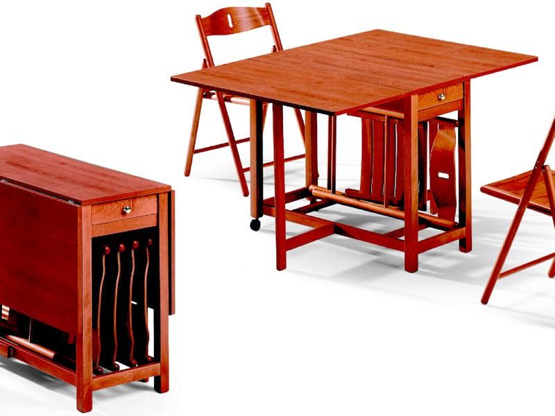 Fred table, 189EVF chair, Mesa plegable, con alojamiento para sillas, ahorro de espacio