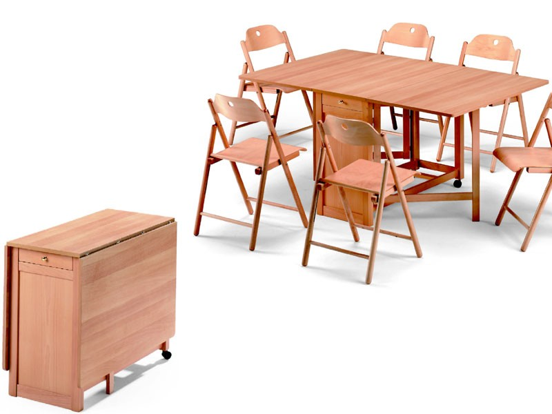 Ginger table, Stoppino chair, Tabla de ahorro de espacio, plegable, hecho de madera