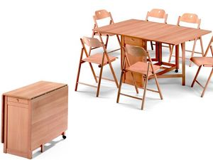 Ginger table, Stoppino chair, Tabla de ahorro de espacio, plegable, hecho de madera