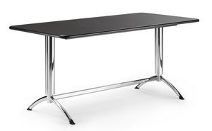 KOMBY 945, Mesa rectangular con base de metal cromado