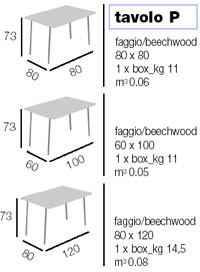 Tavolo P rectangular, Mesa plegable para, disponible en varios acabados de madera